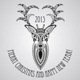 Tarjeta de felicitación de la Navidad del vector con los ciervos Imágenes de archivo libres de regalías