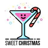 Tarjeta de felicitación de la Navidad del vector Cubilete caliente de la bebida con el bastón de caramelo Palillo del azúcar en v Fotos de archivo