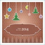 Tarjeta de felicitación de la Navidad del vintage Fotos de archivo libres de regalías
