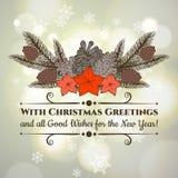 Tarjeta de felicitación de la Navidad del vintage y del Año Nuevo con Foto de archivo libre de regalías