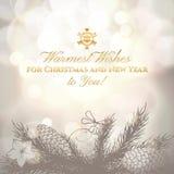 Tarjeta de felicitación de la Navidad del vintage y del Año Nuevo con Imagen de archivo