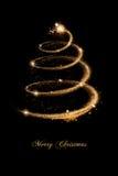 Tarjeta de felicitación de la Navidad en oro y negro Imagenes de archivo