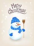 Tarjeta de felicitación de la Navidad - muñeco de nieve Fotografía de archivo libre de regalías