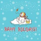 Tarjeta de felicitación de la Navidad. Muñeco de nieve. Foto de archivo