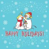 Tarjeta de felicitación de la Navidad. Muñeco de nieve Foto de archivo libre de regalías