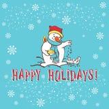 Tarjeta de felicitación de la Navidad. Muñeco de nieve. Imagen de archivo libre de regalías