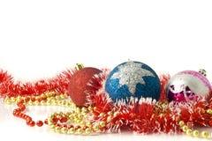 Tarjeta de felicitación de la Navidad - roja, azul y color de rosa Fotografía de archivo libre de regalías