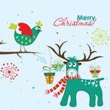 Tarjeta de felicitación de la Navidad, vector Imagenes de archivo