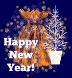 Tarjeta de felicitación de la Navidad y del Año Nuevo Foto de archivo libre de regalías