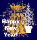 Tarjeta de felicitación de la Navidad y del Año Nuevo Foto de archivo