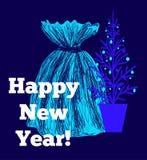 Tarjeta de felicitación de la Navidad y del Año Nuevo Fotografía de archivo