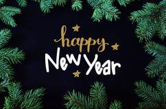 Tarjeta de felicitación de la Navidad y del Año Nuevo con el marco de los brunches del árbol y el Dr. spruce de la mano Imagenes de archivo
