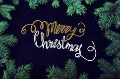 Tarjeta de felicitación de la Navidad y del Año Nuevo con el marco spruce de los brunches del árbol Fotografía de archivo
