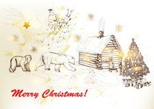 Tarjeta de felicitación de la Navidad y del Año Nuevo con Santa, osos, casa adentro stock de ilustración