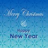 Tarjeta de felicitación de la Navidad y del Año Nuevo Diseño de letras de la Feliz Navidad y del Año Nuevo Fondo de las vacacione Foto de archivo libre de regalías