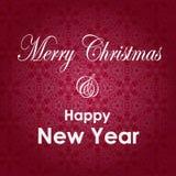 Tarjeta de felicitación de la Navidad y del Año Nuevo Diseño de letras de la Feliz Navidad y del Año Nuevo Fondo de las vacacione Imagen de archivo libre de regalías