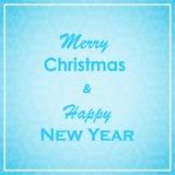 Tarjeta de felicitación de la Navidad y del Año Nuevo Diseño de letras de la Feliz Navidad y del Año Nuevo Fondo de las vacacione Imagenes de archivo