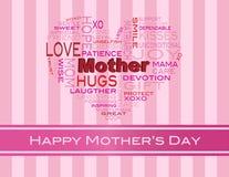 Tarjeta de felicitación de la nube de la palabra del día de madres stock de ilustración