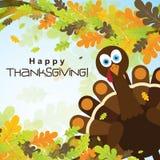Tarjeta de felicitación de la plantilla con un pavo feliz de la acción de gracias, vector Fotos de archivo
