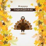 Tarjeta de felicitación de la plantilla con un pavo feliz de la acción de gracias, vector Imagen de archivo libre de regalías