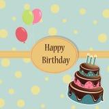 Tarjeta de felicitación de la plantilla del cumpleaños Foto de archivo