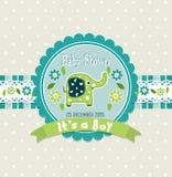 Tarjeta de felicitación de la plantilla - fiesta de bienvenida al bebé Imagen de archivo libre de regalías