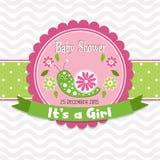 Tarjeta de felicitación de la plantilla - fiesta de bienvenida al bebé, vector Fotos de archivo libres de regalías