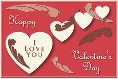 Tarjeta de felicitación de la tarjeta del día de San Valentín Fotos de archivo