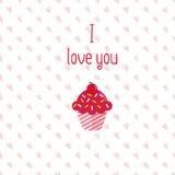 Tarjeta de felicitación de la tarjeta del día de San Valentín con la magdalena rosada en el fondo blanco Modelo inconsútil inclui Foto de archivo