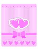 Tarjeta de felicitación de la tarjeta del día de San Valentín con los corazones rosados Foto de archivo