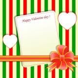 Tarjeta de felicitación de la tarjeta del día de San Valentín de la plantilla Foto de archivo