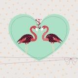 Tarjeta de felicitación de la tarjeta del día de San Valentín de la plantilla con pares cariñosos Fotografía de archivo