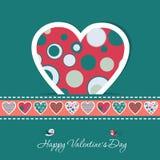 Tarjeta de felicitación de la tarjeta del día de San Valentín de la plantilla, vector Foto de archivo libre de regalías