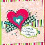 Tarjeta de felicitación de la tarjeta del día de San Valentín de la plantilla, vector Foto de archivo