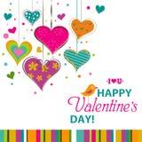 Tarjeta de felicitación de la tarjeta del día de San Valentín de la plantilla, vector Imagen de archivo libre de regalías