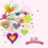 Tarjeta de felicitación de la tarjeta del día de San Valentín de la plantilla, vector Imagenes de archivo