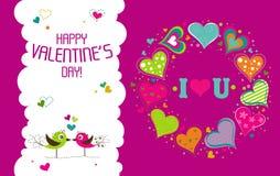 Tarjeta de felicitación de la tarjeta del día de San Valentín de la plantilla, vector Fotos de archivo libres de regalías