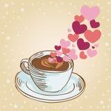 Tarjeta de felicitación de la taza de café de los corazones Fotos de archivo libres de regalías