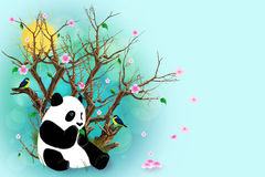 Tarjeta de felicitación de la turquesa con la panda Fotografía de archivo libre de regalías