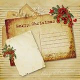 Tarjeta de felicitación de la vendimia de la Navidad Foto de archivo libre de regalías