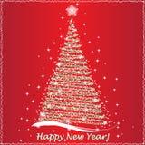 Tarjeta de felicitación de las letras de la Feliz Año Nuevo, ejemplo del vector stock de ilustración
