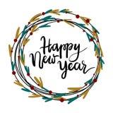 Tarjeta de felicitación de las letras de la mano de la Feliz Año Nuevo Foto de archivo libre de regalías