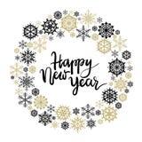 Tarjeta de felicitación de las letras de la mano de la Feliz Año Nuevo Imagen de archivo libre de regalías