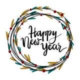 Tarjeta de felicitación de las letras de la mano de la Feliz Año Nuevo Fotos de archivo libres de regalías