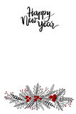 Tarjeta de felicitación de las letras de la mano de la Feliz Año Nuevo Fotografía de archivo