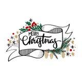 Tarjeta de felicitación de las letras de la mano de la Feliz Navidad Foto de archivo libre de regalías