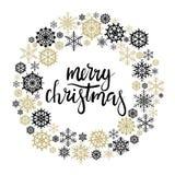 Tarjeta de felicitación de las letras de la mano de la Feliz Navidad Imágenes de archivo libres de regalías