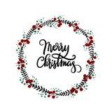 Tarjeta de felicitación de las letras de la mano de la Feliz Navidad Fotos de archivo libres de regalías