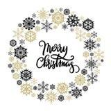 Tarjeta de felicitación de las letras de la mano de la Feliz Navidad Fotografía de archivo