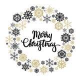 Tarjeta de felicitación de las letras de la mano de la Feliz Navidad Imagen de archivo